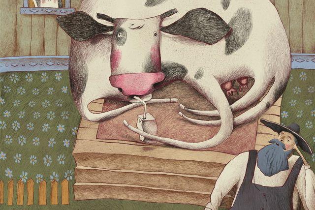 Иллюстрация к детскому стихотворению К. Валаханович «Бурёнка по прозвищу Мурка».