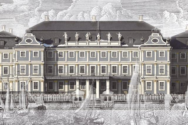 Реконструкция цвета фасада Меншиковского дворца до 1720 года.
