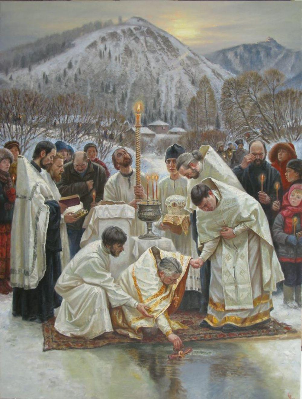 Художник Константин Войнов запечатлел на своей картине освящение иордани перед купаниями в реке Базаихе.