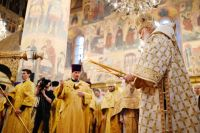 Патриаршее служение в праздник Пресвятой Богородицы в Успенском соборе Московского Кремля.