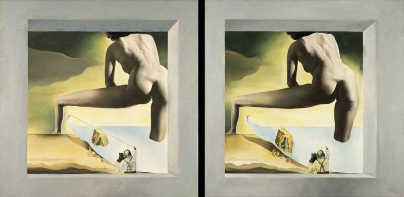 Дали, приподнимающий поверхность Средиземного моря, чтобы показать Гала рождение Венеры. Стереоскопическое произведение. 1978