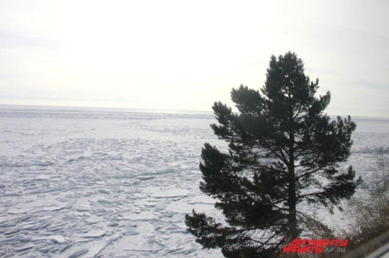 Из окна рельсового автобуса можно наблюдать за тем, как солнце поднимается над Байкалом.
