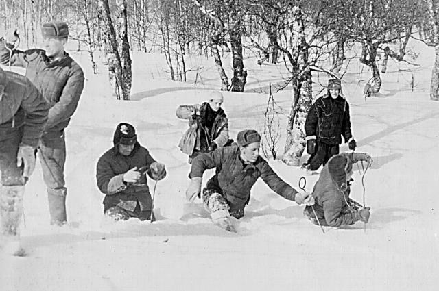 Команда из десяти солдат и десяти студентов-альпинистов прочёсывала местность, пробивая снег щупами, за день проходили метров триста.