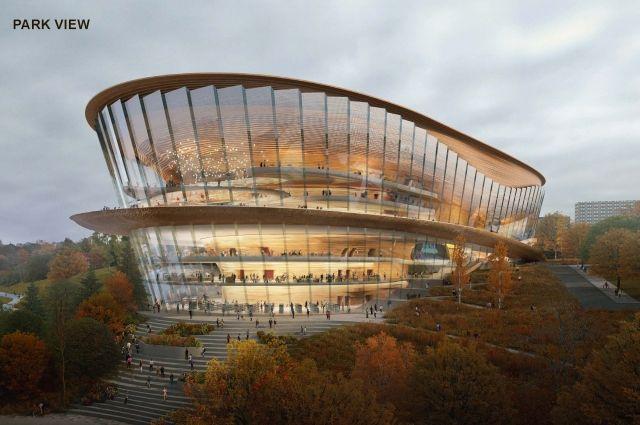 В здании запроектировали много панорамных окон, из которых будет открываться вид на Каму и парк.