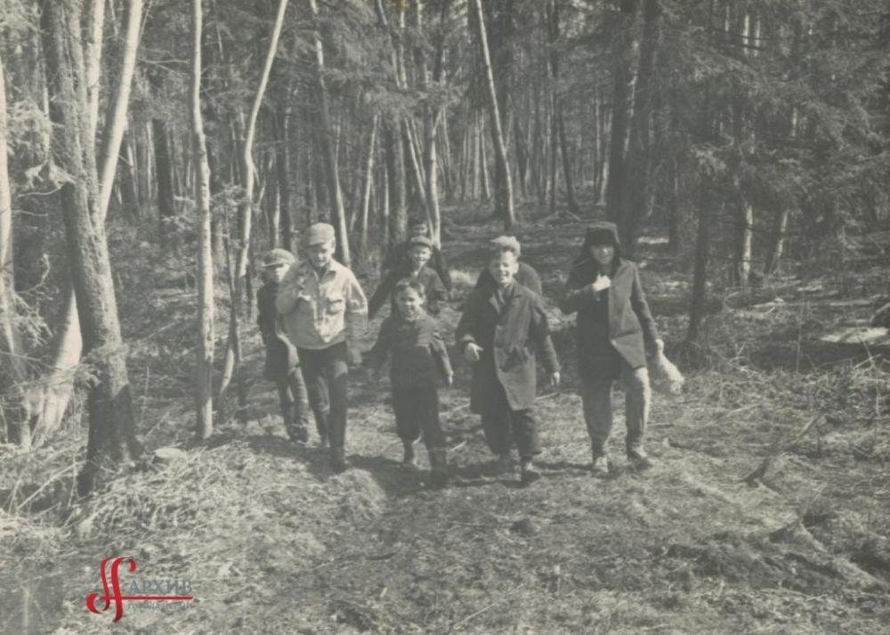 Ребята гуляют по аллеям Балатовского парка, 9 апреля 1967 г.