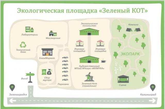 В Зеленоградске началось строительство эко-площадки «Зелёный кот»