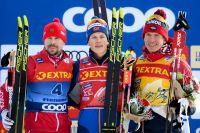Слева направо: Сергей Устюгов, Йоханнес Хёсфлот Клебо и Александр Большунов.
