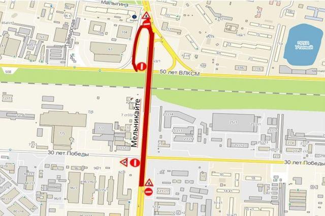 Проезд по мосту на ул. Мельникайте будет закрыт по ночам на неделю