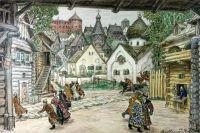 Опричники въезжают в город. Рисунок А. М. Васнецова (эскиз декорации к опере П. И. Чайковского «Опричник»), 1911 г.