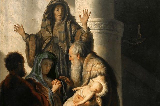 Рембрандт Харменс ван Рейн. Фрагмент картины «Анна и Симеон в храме».