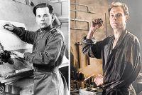 Михаил Калашников в жизни и на экране. Роль знаменитого конструктора сыграл молодой актёр Юрий Борисов.