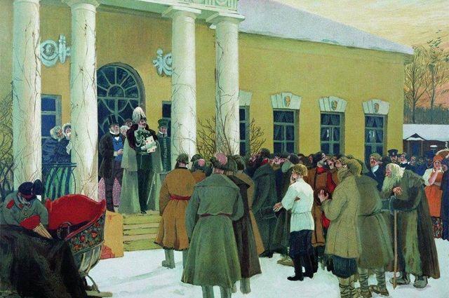 Картина Бориса Кустодиева «Чтение манифеста (Освобождение крестьян)»