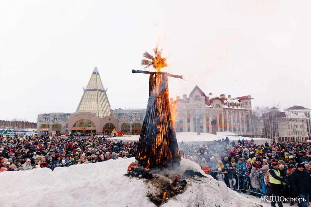 Кульминацией мероприятия стал старинный обряд сожжения чучела Масленицы