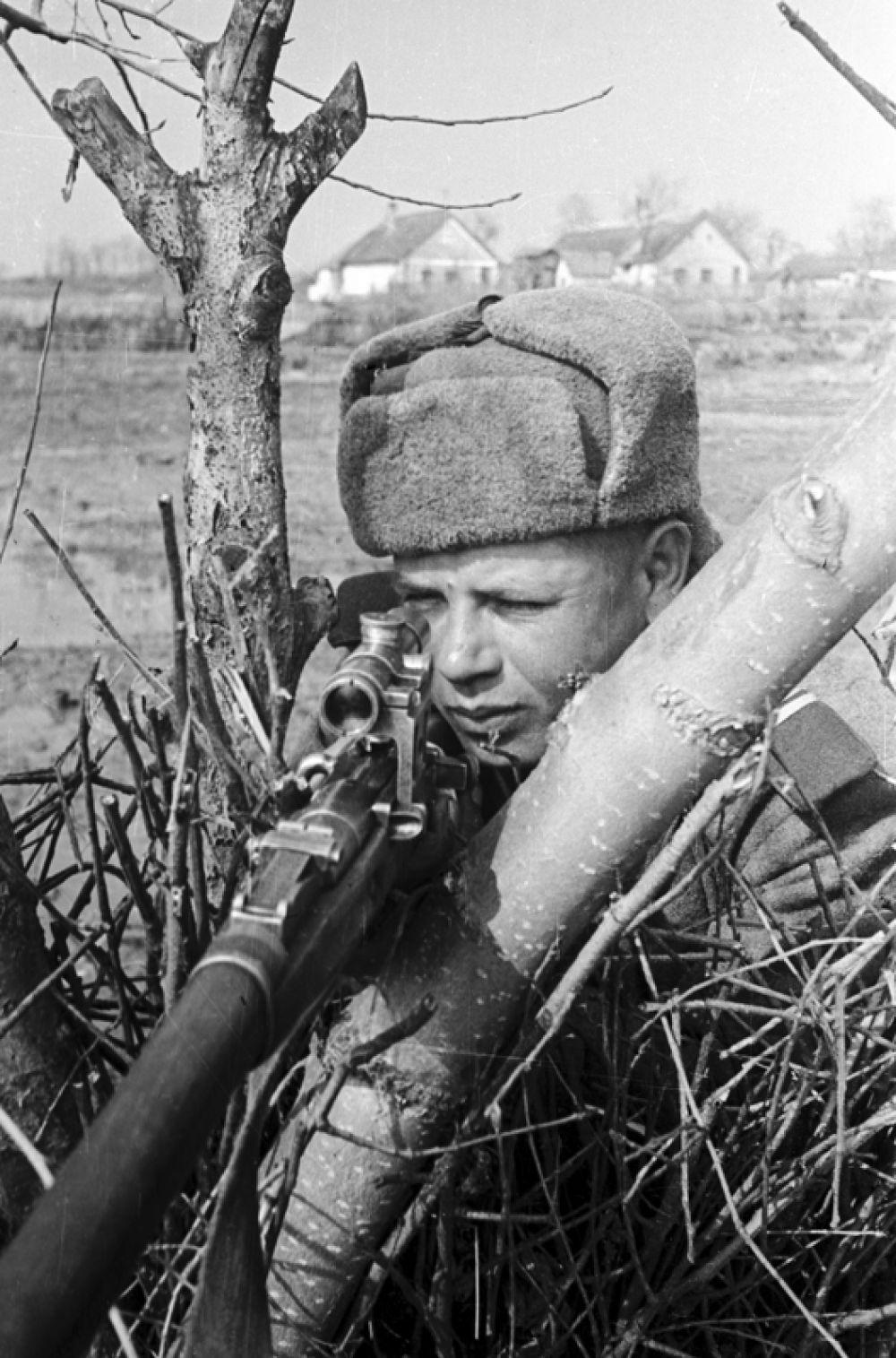 Снайпер сержант Коршун сидит в засаде в районе озера Балатон. 3-й Украинский фронт.