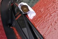 В Харькове неизвестные положили гранату под дворники авто