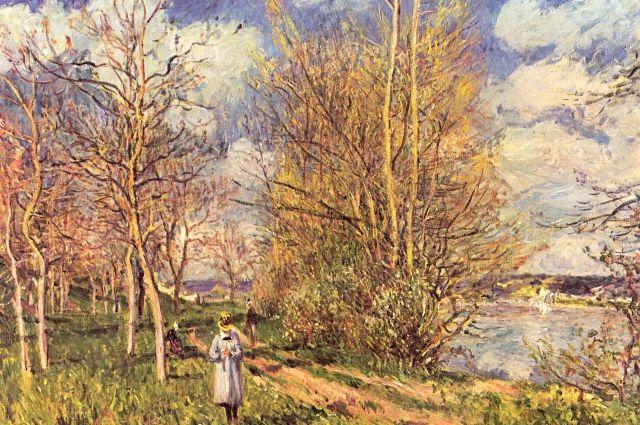 Альфред Сислей. Фрагмент картины «Лужайки весной»