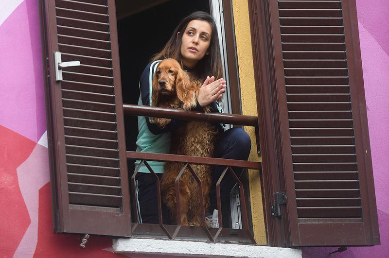 Девушка с собакой, Милан.