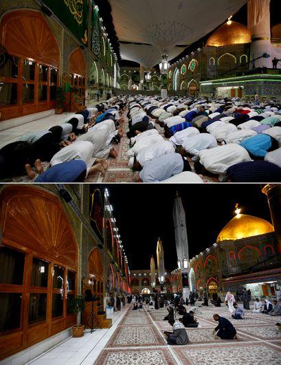 В мечети Имама Али в городе Ан-Наджаф, Ирак.