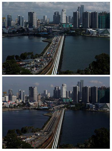 Мост дамба Джохор-Сингапур, соединяющая Малайзию и Сингапур.