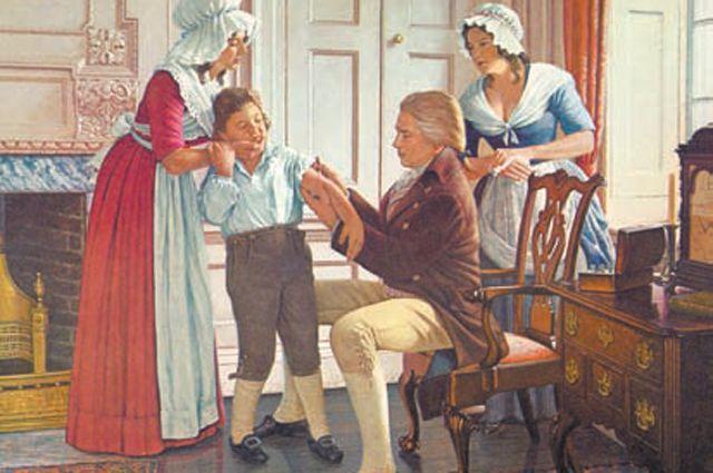 Эдвард Дженнер делает первую прививку от оспы в 1796 г. в Беркли.