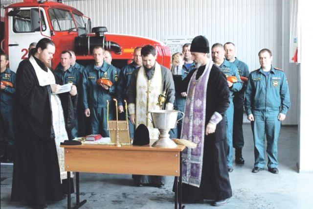Чин освящения главной пожарной части в Короче.