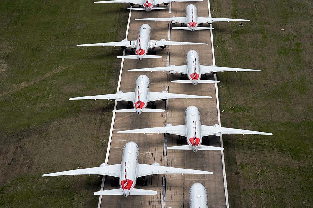 Самолеты American Airlines международном аэропорту Талса, штат Оклахома, США.