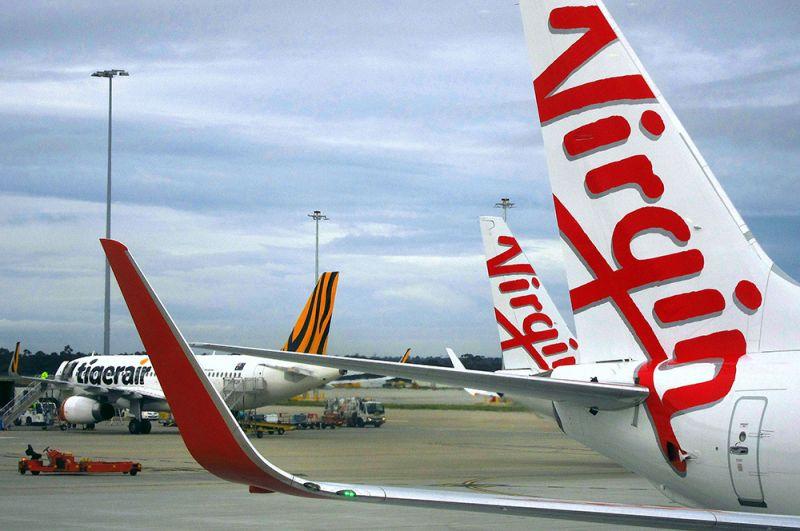 Самолеты в аэропорту Мельбурна, Австралия.