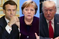 Эммануэль Макрон, Ангела Меркель, Дональд Трамп.