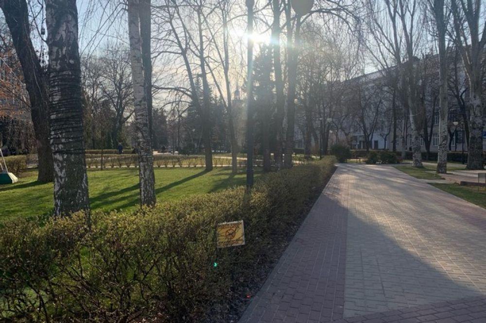 В Кольцовском сквере практически никто не гуляет.