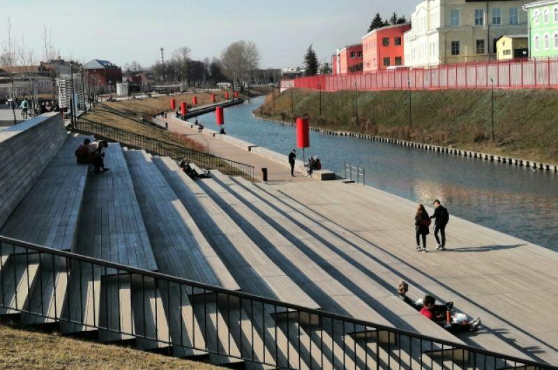 Казанская набережная в Туле в субботу, 28 марта.