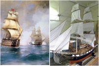 Слева - фрагмент картины Ивана Айвазовского «Бриг «Меркурий», атакованный двумя турецкими кораблями». Справа - модель брига, которую создал пермяк Раиф Шайхельахметов.