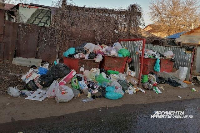 В Оренбурге жители жалуются на то, что мусор не вывозится неделями.