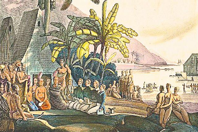 Русские моряки ведут торговые переговоры с королём Гавайев Камеамеа. Рисунок сделан во время экспедиции Отто фон Коцебу на «Рюрике» в 1815–1818 гг.