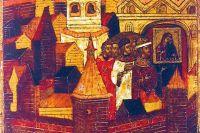 Крестный ход в Ярославском кремле с Толгской иконой по случаю морового поветрия. Фрагмент иконы 1655 года.