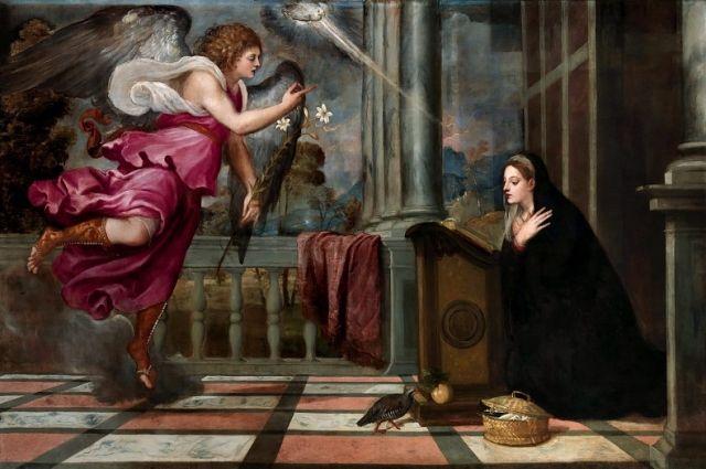 Тициан. Фрагмент картины «Благовещение».