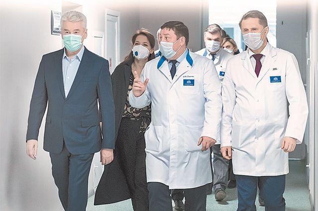 Мэр Москвы Сергей Собянин на открытии специализированного стационара на базе Сеченовки.