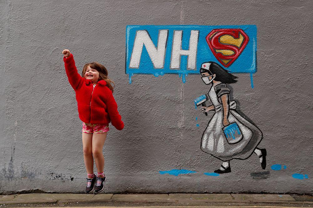 Понтефракт, Великобритания. Граффити с благодарностью работникам Национальной службы здравоохранения.