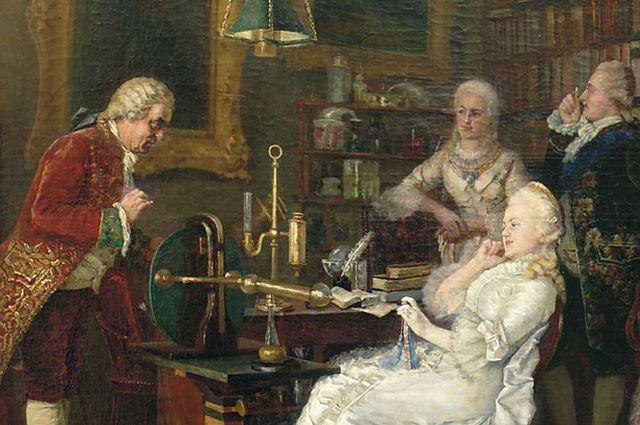 Екатерина II из России навестила Михаила Ломоносова в 1764 году. Картина 1884 года Ивана Федорова.