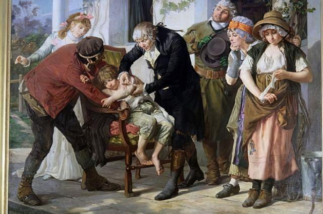 Эдвард Дженнер, переняв опыт у адыгов, делает прививку от оспы в 1796 году в Беркли. Картина Гастона Мелинга.