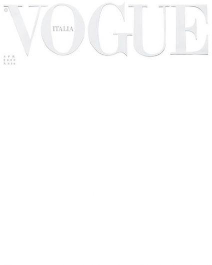 Апрельский номер Vogue в Италии вышел с белой обложкой. По словам редакции, белый цвет символизирует и цвет униформы тех, кто ежедневно спасает жизни, и одновременно является метафорой новой страницы истории.