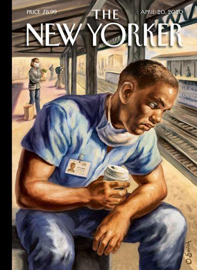 На обложке апрельского номера журнала New Yorker — иллюстрация художника Оуэна Смита «После смены» — о тех, у кого нет выбора, ходить или не ходить на работу, и о том, что она может быть очень утомительной.