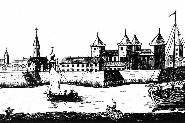 Митавский замок — главная резиденция Кетлеров. Гравюра 1703 года.