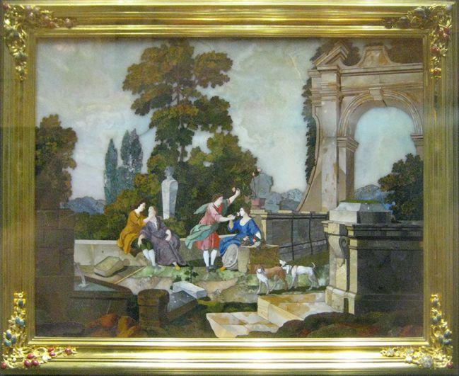 После смерти Елизаветы свои правки во внешний вид комнаты внесла Екатерина II. Свой классический вид Янтарная комната обрела в 1770 году. На фото: сохранившийся фрагмент Янтарной комнаты — мозаичная картина «Осязание и Обоняние» (Италия, 1751).