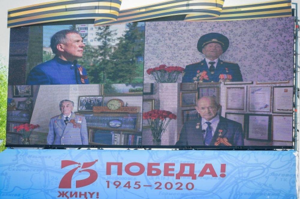 День Победы в Казани начался в 7 утра с телемарафона, в котором участвовали ветераны.