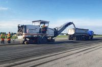 Ремонт взлетно-посадочной полосы в барнаульском аэропорту