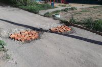Ремонт дороги в Алексине.