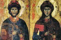 Борис и Глеб. Икона из Савво-Вишерского монастыря, XIII — начало XIV века.