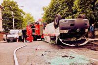 В Ивано-Франковске вследствие ДТП перевернулась «скорая»: есть пострадавшие
