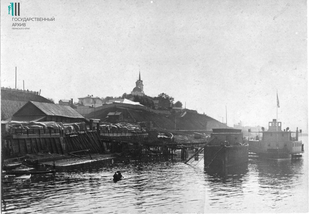 Вид на пристань около вокзала Перми-1. 1910-е гг.