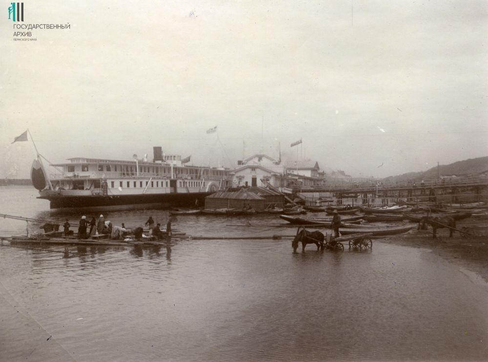 Вид пристани на Каме. 1910 год.